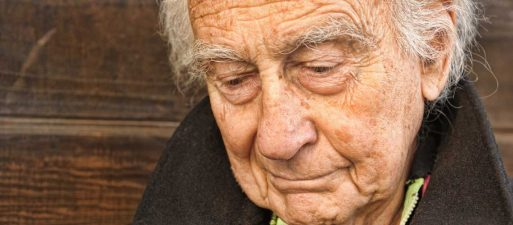 Elderly man ageing alone