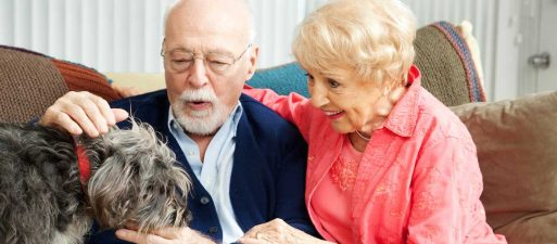 Elderly couple and dog - caring for someone you love