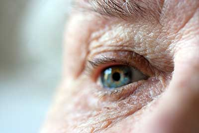 Close up of elderly persons eye