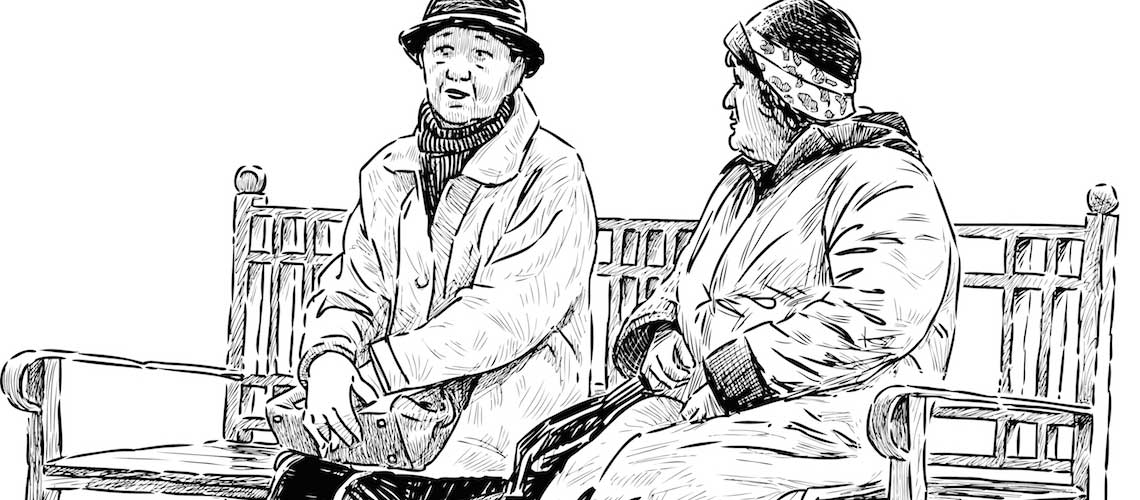 Line drawing of elderly couple talking on a bench