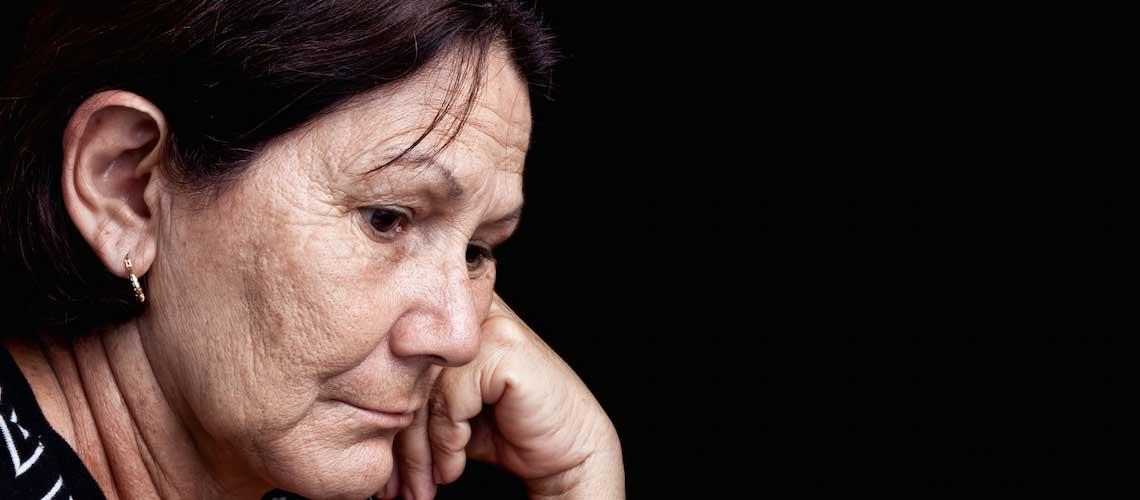 Elderly lady having a crisis